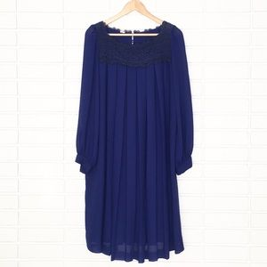 Dresses & Skirts - 80's VINTAGE Cobalt Blue Sheer Pleated Tent Dress